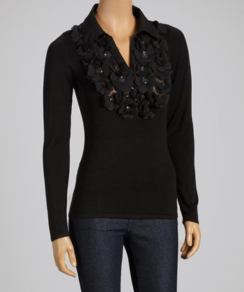 Black Rosette Collar Long-Sleeve Top