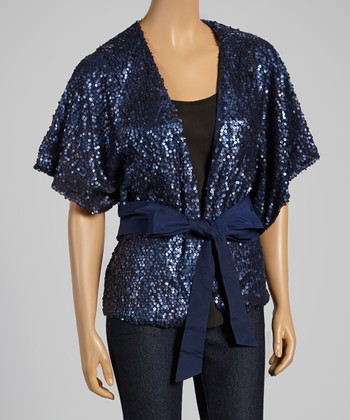 Navy Sequin Tie-Waist Open Cardigan
