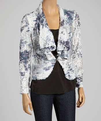 White Multi Sequin Long-Sleeve Jacket