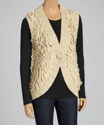 Oatmeal Knit Single-Button Wool-Blend Vest