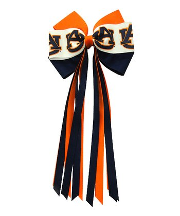 Navy & Orange Auburn Streamer Bow