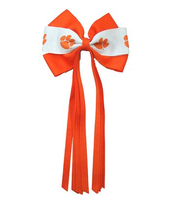 Orange & White Clemson Streamer Bow
