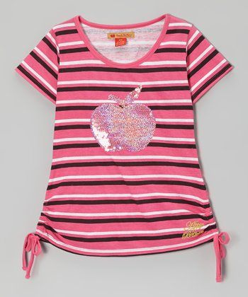 Magenta Stripe Sequin Apple Top - Toddler & Girls
