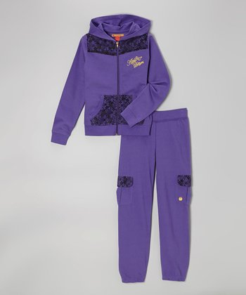 Ultra Violet Zip-Up Hoodie & Sweatpants - Girls