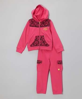 Magenta Zip-Up Hoodie & Sweatpants - Girls