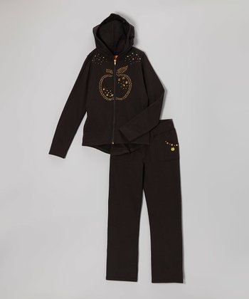 Black Hi-Low Zip-Up Hoodie & Sweatpants - Infant, Toddler & Girls