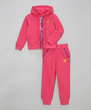 Magenta Sequin Zip-Up Hoodie & Sweatpants - Infant, Toddler & Girls