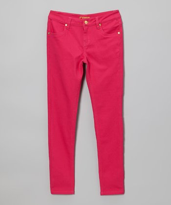 Magenta Sequin Apple Pocket Skinny Jeans - Toddler & Girls