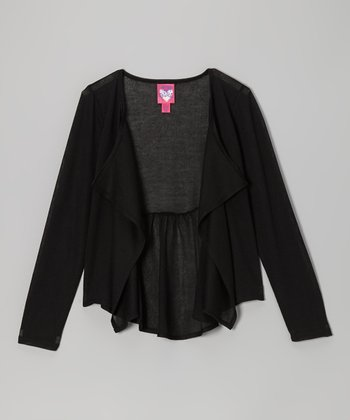 True Black Peplum Cardigan
