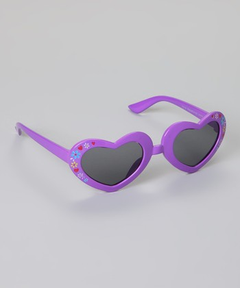 Purple Floral Heart Sunglasses