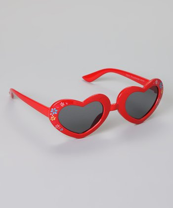 Red Floral Heart Sunglasses