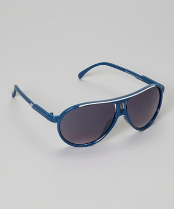 Blue & White Stripe Pilot Sunglasses