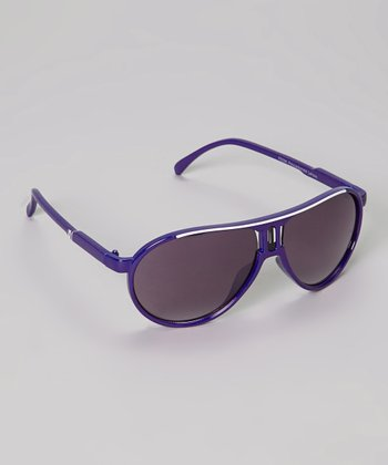 Purple & White Stripe Pilot Sunglasses