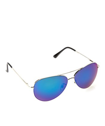 Silver & Green Flash Mirror Pilot Sunglasses
