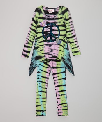 Pastel Stripe Peace Sidetail Tunic & Leggings - Toddler & Girls