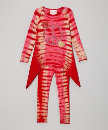 Candy Red Stripe Peace Sidetail Tunic & Leggings - Toddler & Girl