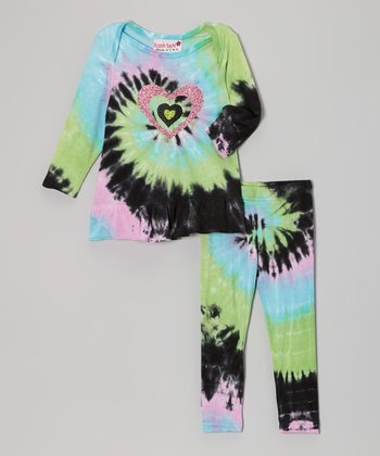 Pastel Rainbow Heart Ruffle Lapneck Tunic & Leggings - Infant
