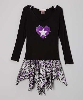 Purple Heart Cheetah Hooded Handkerchief Dress - Toddler & Girls