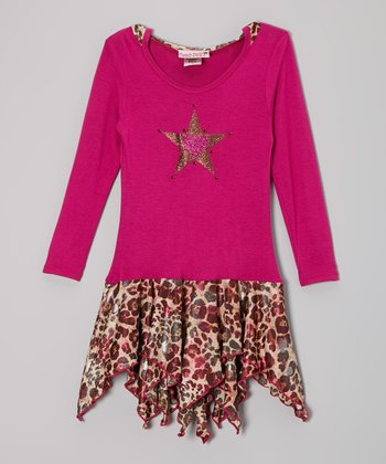 Fuchsia Flower Star Hooded Handkerchief Dress - Toddler & Girls