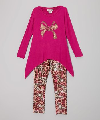 Fuchsia Bow Sidetail Tunic & Cheetah Flower Leggings - Girls
