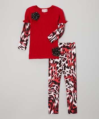 Red Ribbed Tunic & Wild Flower Leggings - Toddler & Girls