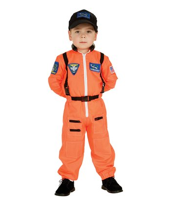 Orange Astronaut Dress-Up Bodysuit & Hat - Toddler & Boys
