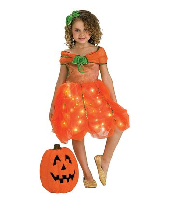 Orange Pumpkin Light-Up Dress - Toddler & Girls