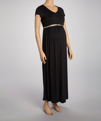 Black Belted Maternity Surplice Maxi Dress - Women