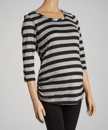 Black & Gray Stripe Ruched Maternity Top - Women