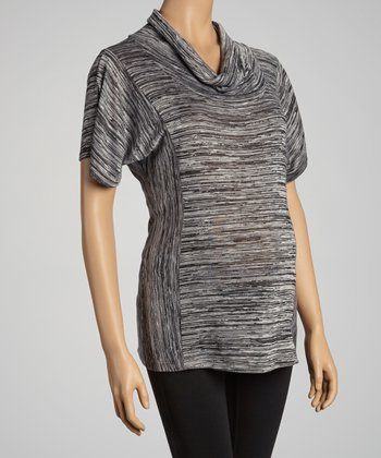 Black Maternity Cowl Neck Top - Women