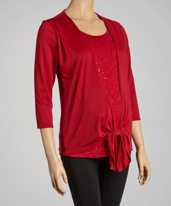 Red Sequin Maternity Top - Women