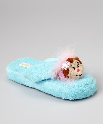 Light Blue Monkey Slippers - Kids