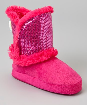 Pink Sequin Boot Slipper - Kids