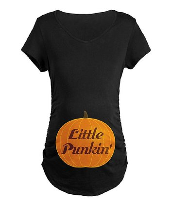 Black 'Little Punkin'' Maternity Tee