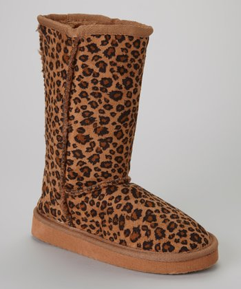 Brown Leopard Snow Boot