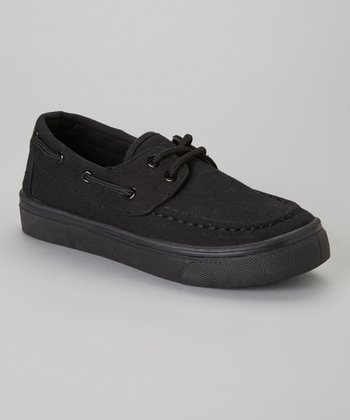 Black Lace-Up Boat Shoe