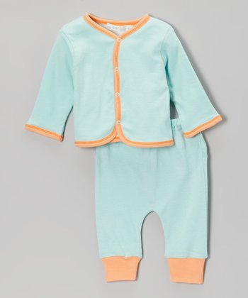 Sky Blue Organic Reversible Cardigan & Pants - Infant