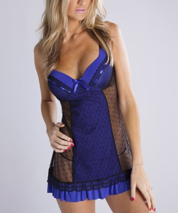 Blue & Black Polka Dot Panel Babydoll & Thong - Women & Plus