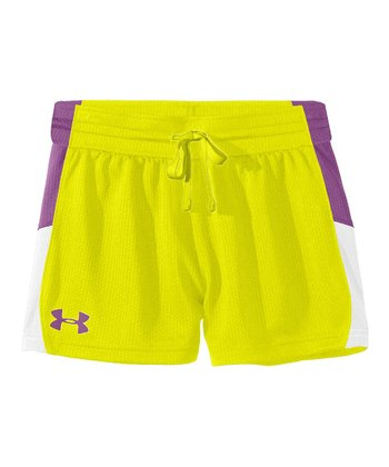 Neon Yellow & Purple Intensity 3'' Shorts - Girls
