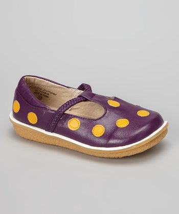 Purple & Gold Polka Dot T-Strap Shoe
