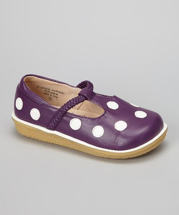 Purple & White Polka Dot T-Strap Shoe