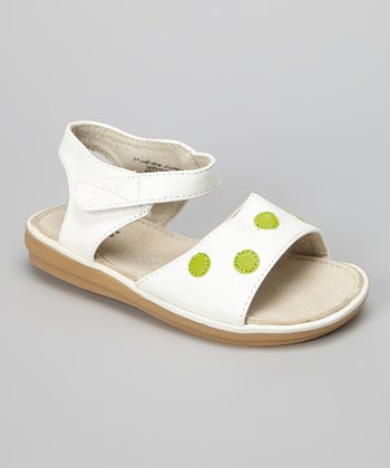 White & Green Polka Dot Sandal