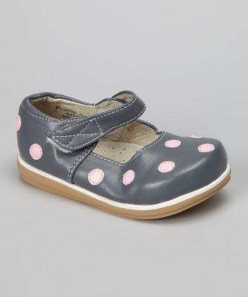 Gray & Light Pink Polka Dot Mary Jane