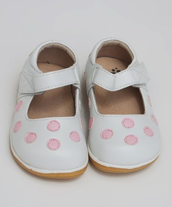 White & Light Pink Polka Dot Mary Jane