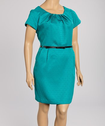 Jade Circles Short-Sleeve Dress - Plus