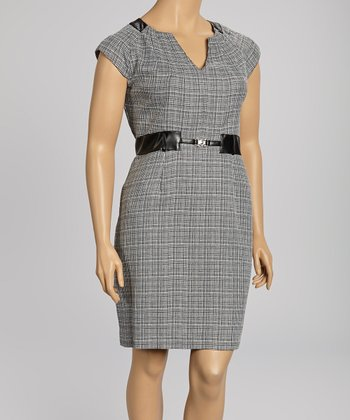Black & White Plaid Cap-Sleeve Dress - Plus