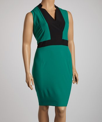 Emerald & Black Color Block V-Neck Dress - Plus