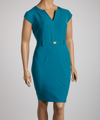 Teal Cap-Sleeve Dress - Plus