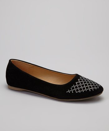 Black Metallic Stud Lattice Flat