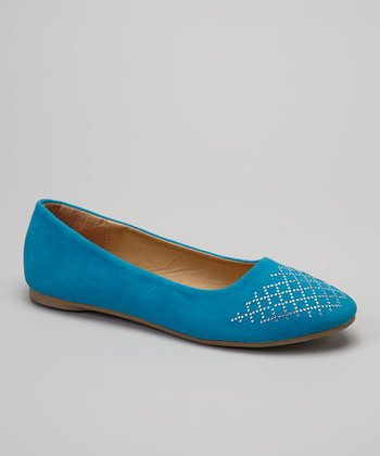 Blue Metallic Stud Lattice Flat